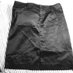 Cache Sz 6 Black Satin Mini Skirt W/ Bling Pockets